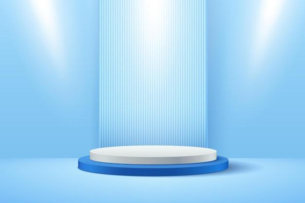 Streszczenie biały i jasnoniebieski okrągły wyświetlacz do prezentacji produktu