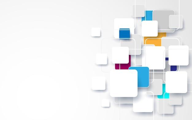 Streszczenie biały i kolorowy kwadrat tło