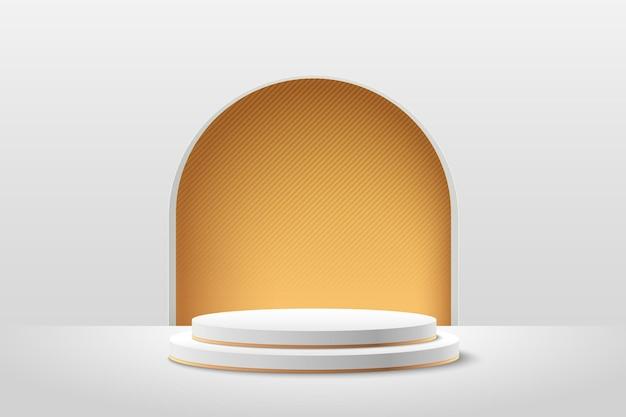 Streszczenie biały i złoty okrągły wyświetlacz do prezentacji produktu