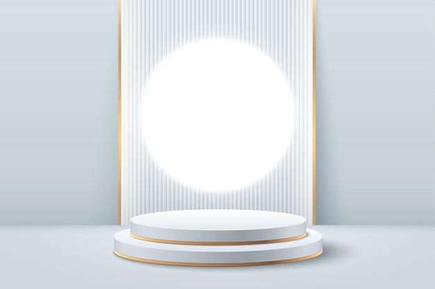 Streszczenie biały i złoty okrągły wyświetlacz do prezentacji produktu.