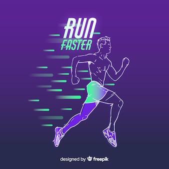 Streszczenie biegacz sylwetka płaski kształt