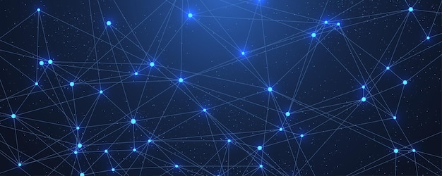 Streszczenie big data wizualizacji sieci cyfrowej koncepcja tło. sztuczna inteligencja i technologia inżynierska. sieć globalna, splot linii, minimalny układ. ilustracja wektorowa.
