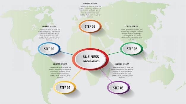 Streszczenie biznes infografiki 3d w postaci kolorowych elips połączonych ze sobą liniami i krokami.