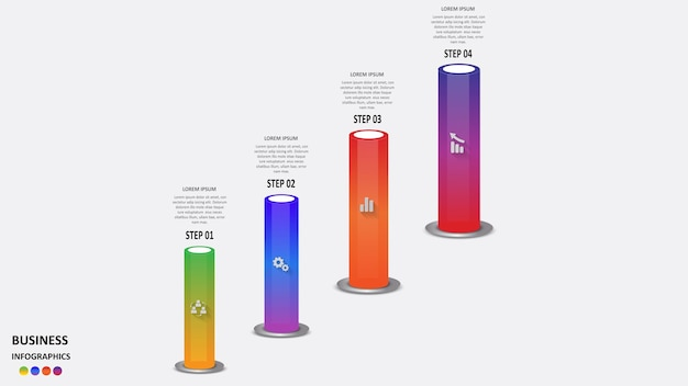 Streszczenie biznes infografiki w postaci kolorowych cylindrów z segmentami biznesowymi, ikonami i tekstem.