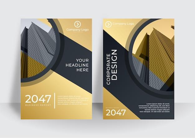 Streszczenie biznes okładka w kolorze złotym i czarnym. kolekcja okładek o geometrycznych kształtach. gradientowe abstrakcyjne kształty okładek w formacie a4