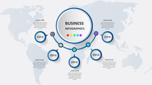Streszczenie biznesu infografiki w postaci kolorowych form połączonych ze sobą za pomocą linii i kroków.