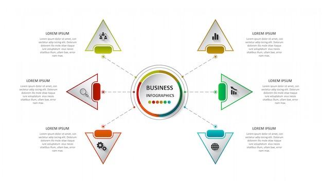 Streszczenie biznesu infografiki w postaci kolorowych postaci połączonych ze sobą za pomocą linii i kroków.