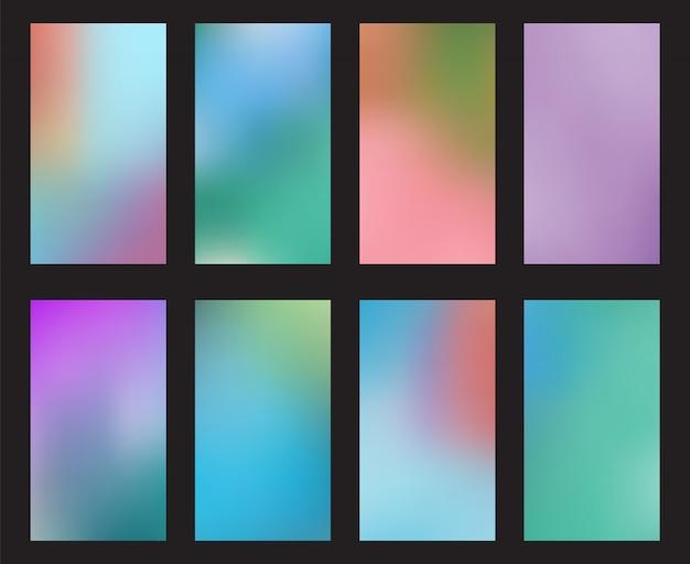 Streszczenie blured tła smartphone ekran zestaw tapet mobilnych