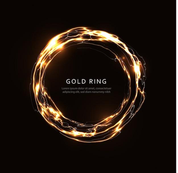 Streszczenie błyskawica ze złotym połyskiem, świecący dysk fantasy, złoty magiczny krąg, kula energii, okrągły szablon obracającej się ramki na ulotki, baner i plakat, na białym tle ilustracja graficzna