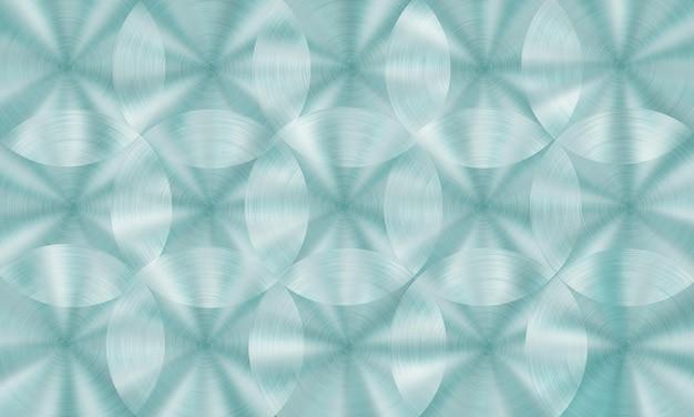 Streszczenie błyszczące metalowe tło z okrągłą szczotkowaną teksturą w jasnoniebieskich kolorach