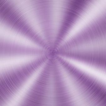 Streszczenie błyszczące metalowe tło z okrągłą szczotkowaną teksturą w kolorze fioletowym