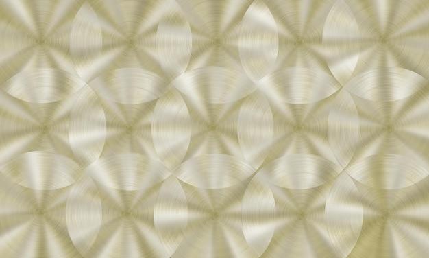 Streszczenie błyszczące metalowe tło z okrągłą szczotkowaną teksturą w złotych kolorach