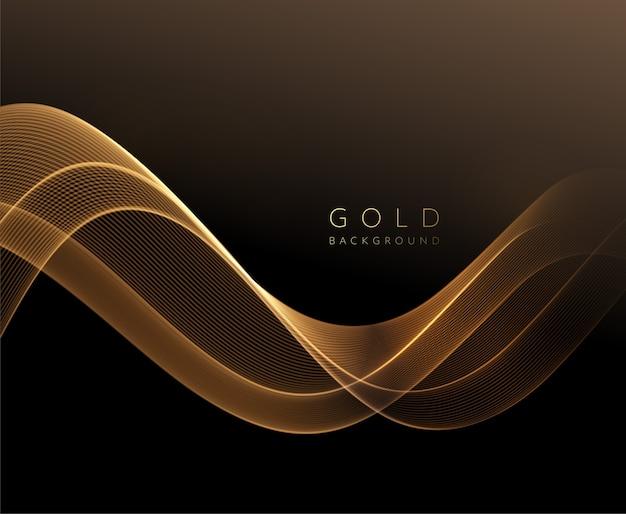 Streszczenie błyszczący złoty falisty element. przepływ złota fala na ciemnym tle.