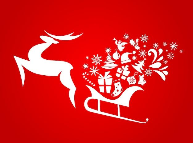 Streszczenie boże narodzenie jelenia czerwonym tle plakatu, banera lub karty z pozdrowieniami
