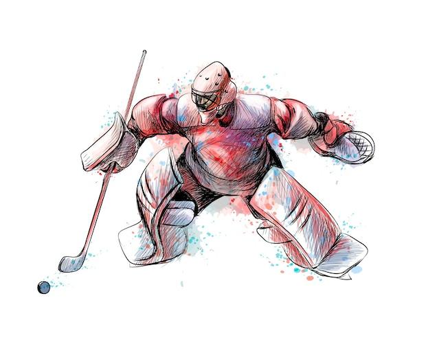 Streszczenie bramkarz hokejowy z pluskiem akwareli. ręcznie rysowane szkic. sporty zimowe. ilustracja farb
