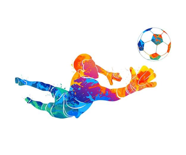 Streszczenie bramkarz piłkarski skacze do piłki piłka nożna z plusku akwareli. ilustracja farb.
