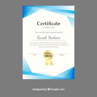 Streszczenie certyfikat uznania z niebieskimi kształtach
