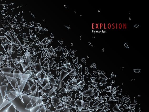 Streszczenie chmura kawałków szkła i fragmentów po wybuchu. efekt rozbicia i zniszczenia. ilustracja.