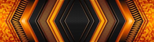 Streszczenie ciemna technologia z gradientowym jasnopomarańczowym sztandarem