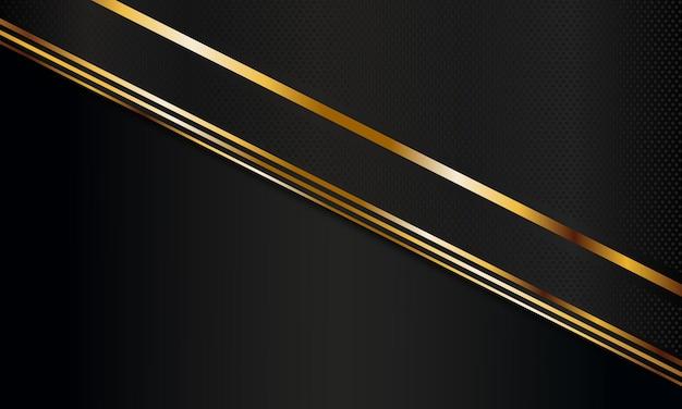 Streszczenie ciemne metalowe paski ze złotymi liniami tła ilustracji wektorowych