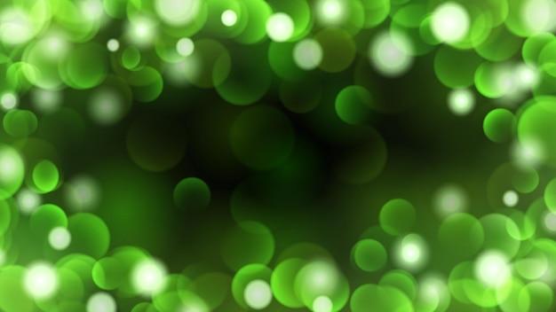 Streszczenie ciemne tło z efektami bokeh w zielonych kolorach