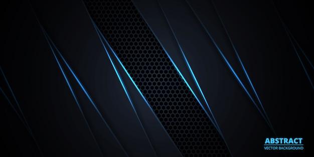 Streszczenie ciemne tło z niebieskimi świetlistymi liniami i pasemkami.