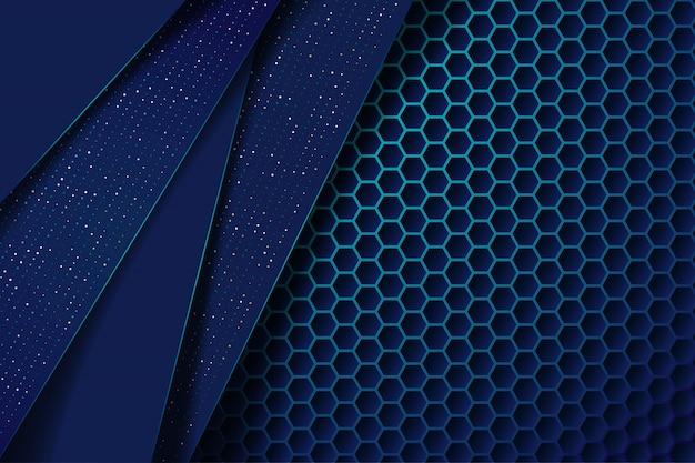 Streszczenie ciemnoniebieskie nakładają się warstwy z brokatowymi kropkami i sześciokątnym wzorem siatki nowoczesne futurystyczne tło