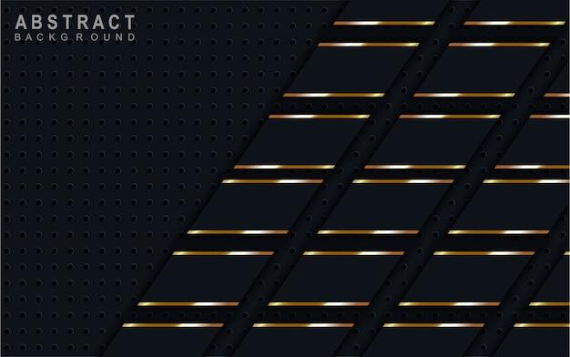 Streszczenie ciemnoniebieskie tło na złotej linii.