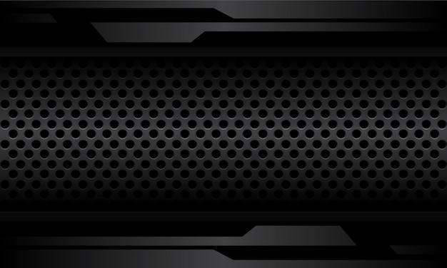Streszczenie ciemnoszara cyber linia na metalowej pustej przestrzeni z siatki metalowej nowoczesnej futurystycznej konstrukcji.