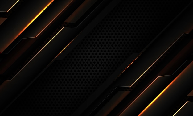 Streszczenie ciemnoszary metaliczny cyber geometryczny złoty lekki slash na czarnym kółku oczek nowoczesnej futurystycznej technologii tle