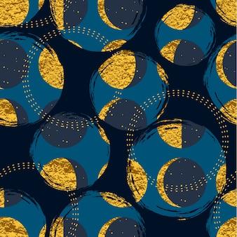 Streszczenie cosmic seamless pattern. modny ręcznie rysowane tekstury, blask i elementy geometryczne.