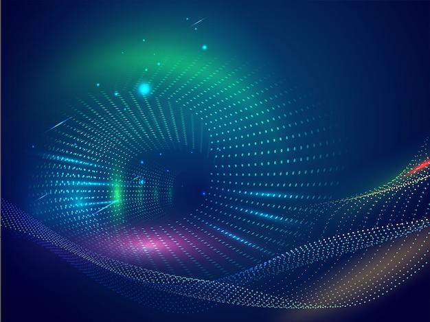 Streszczenie cyfrowy fala cząstek tła z efektem oświetlenia