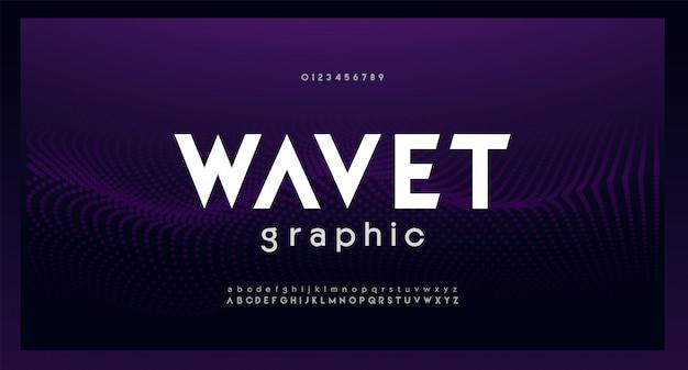 Streszczenie cyfrowy nowoczesny alfabet czcionki. technologia typografii elektroniczna muzyka taneczna przyszłość kreatywna czcionka