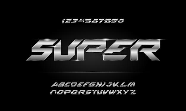 Streszczenie cyfrowy nowoczesny futurystyczny alfabet czcionki. typografia czcionki w stylu miejskim dla technologii, cyfrowych, projektowania logo filmu