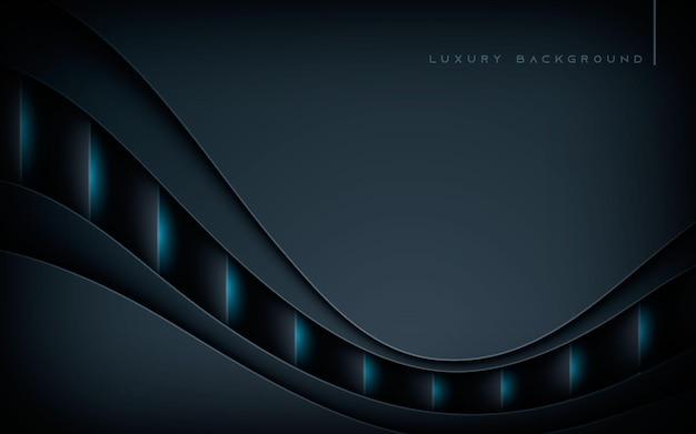 Streszczenie czarne nakładające się warstwy tła z efektem świetlnym