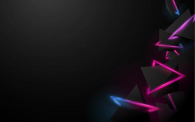 Streszczenie czarne tło piramidy 3d