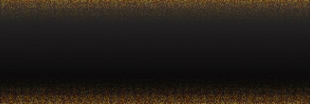 Streszczenie czarne tło teksturowane z promienistym złotym wzorem półtonów