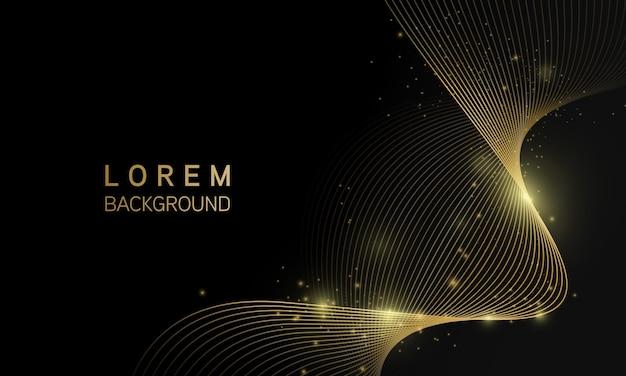 Streszczenie czarne tło z linii fali złoty połysk światła, luksusowa nowoczesna koncepcja.