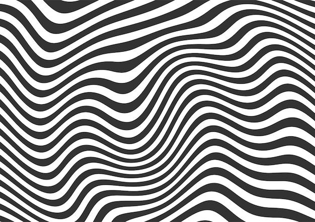 Streszczenie czarno-białe faliste linie w paski, faliste linie wzór tła