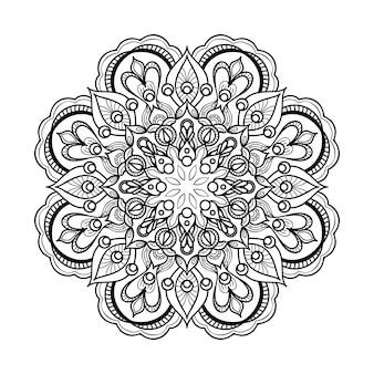 Streszczenie czarno-biały mandala zarys sztuki