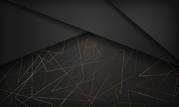 Streszczenie czarno-złote tło z wielokątną linią
