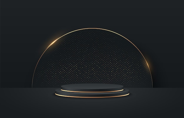 Streszczenie czarno-złoty okrągły wyświetlacz do prezentacji produktu.