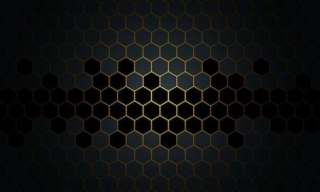 Streszczenie czarny i złoty plaster miodu na ciemnym tle. nowy styl dla twojego projektu biznesowego.