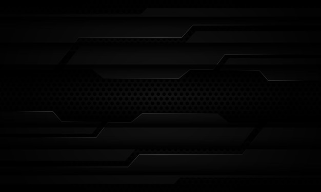 Streszczenie czarny metaliczny cień cyber na tle siatki ciemnego koła nowoczesne futurystyczne technologie