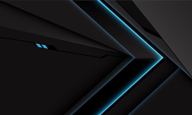 Streszczenie czarny metaliczny niebieski kierunek strzałki mocy światła na futurystycznym tle futurystycznej technologii w stylu ciemnoszarym