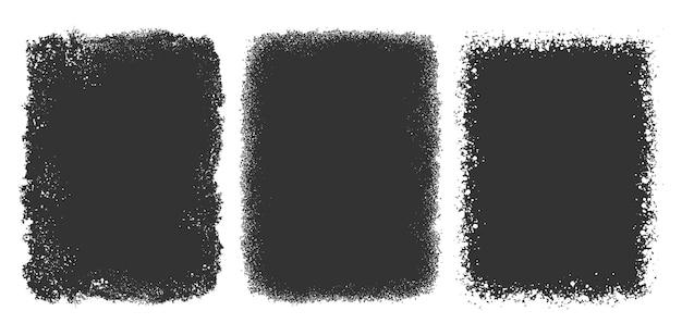 Streszczenie czarny zestaw ramek grunge