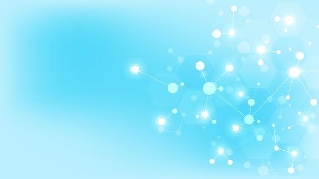 Streszczenie cząsteczki na miękkim niebieskim tle. struktury molekularne lub nić dna, sieć neuronowa, inżynieria genetyczna. koncepcja naukowa i technologiczna.