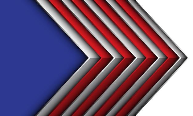 Streszczenie czerwona biała strzałka metaliczny geometryczny cień niebieski puste miejsce futurystyczne kreatywne tło