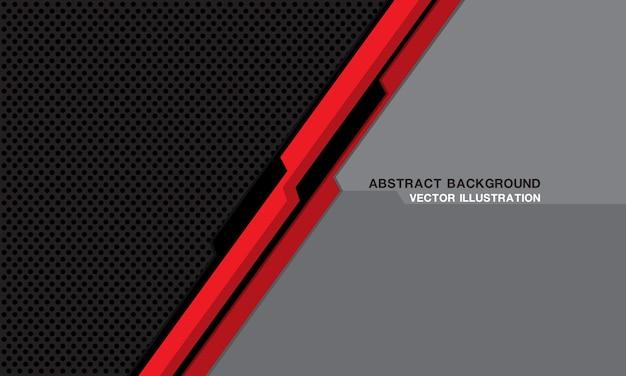 Streszczenie czerwona czarna linia cyber geometryczne na futurystycznej technologii siatki ciemnego koła.