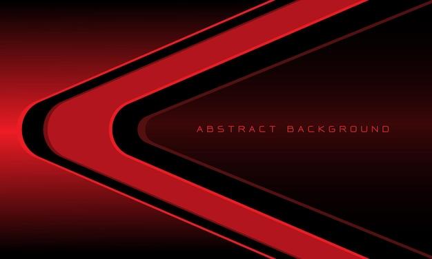 Streszczenie czerwona czarna linia strzałki kierunku krzywej z metalicznym pustą przestrzenią nowoczesnym futurystycznym tłem